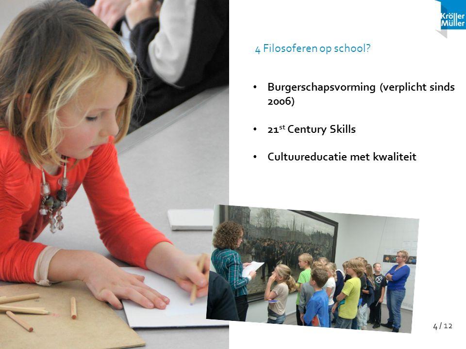4 / 12 Burgerschapsvorming (verplicht sinds 2006) 21 st Century Skills Cultuureducatie met kwaliteit 4 Filosoferen op school?