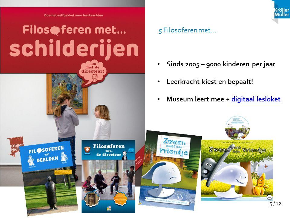 5 / 12 Sinds 2005 – 9000 kinderen per jaar Leerkracht kiest en bepaalt! Museum leert mee + digitaal lesloketdigitaal lesloket 5 Filosoferen met…