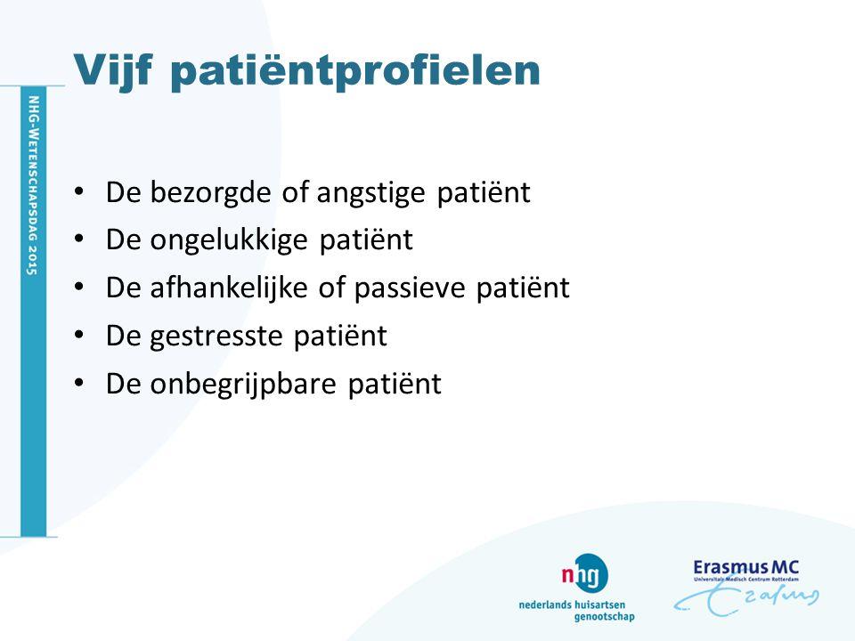 Vijf patiëntprofielen De bezorgde of angstige patiënt De ongelukkige patiënt De afhankelijke of passieve patiënt De gestresste patiënt De onbegrijpbare patiënt