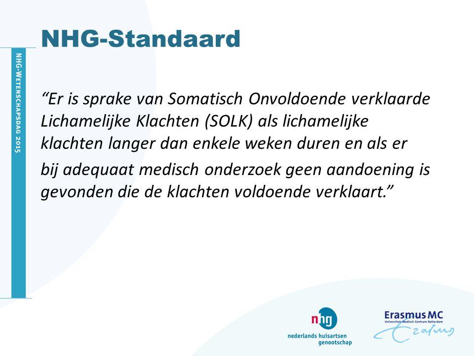 NHG-Standaard Er is sprake van Somatisch Onvoldoende verklaarde Lichamelijke Klachten (SOLK) als lichamelijke klachten langer dan enkele weken duren en als er bij adequaat medisch onderzoek geen aandoening is gevonden die de klachten voldoende verklaart.