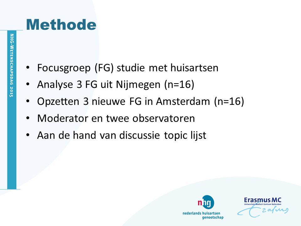 Methode Focusgroep (FG) studie met huisartsen Analyse 3 FG uit Nijmegen (n=16) Opzetten 3 nieuwe FG in Amsterdam (n=16) Moderator en twee observatoren Aan de hand van discussie topic lijst