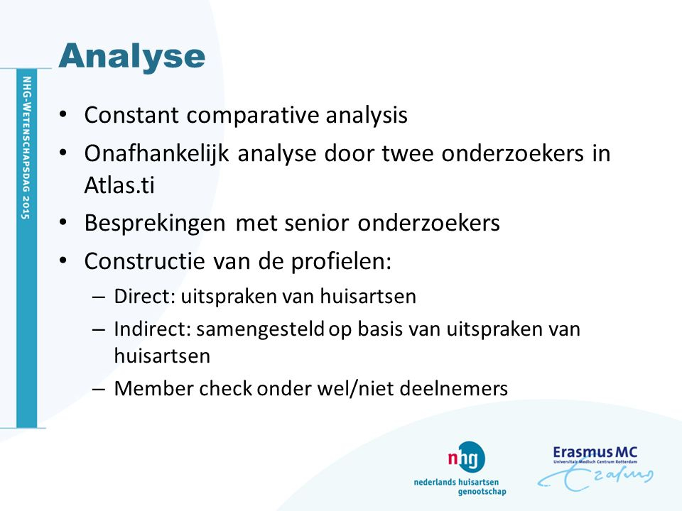 Conclusie Objectieve en subjectieve kenmerken bij het herkennen van SOLK Kernwaarden van het huisartsenvak essentieel Vijf patiëntprofielen: de bezorgde/angstige, ongelukkige, afhankelijke/passieve, gestreste en de onbegrijpbare patiënt Toekomstig onderzoek: frequentie, overlap, beloop en prognose en hoe behandelingen toegespitst kunnen worden