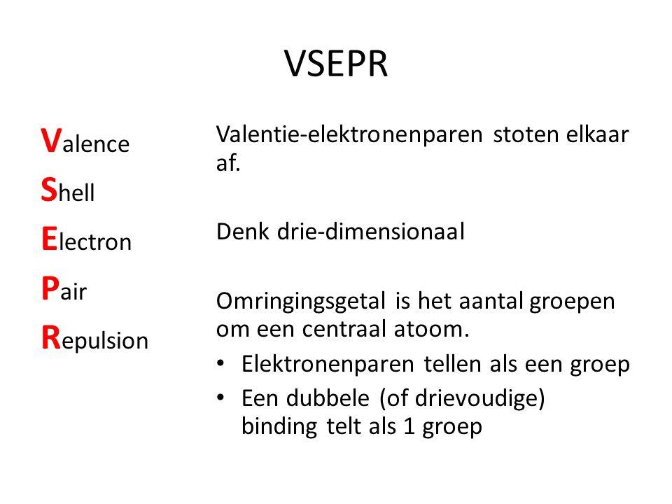 VSEPR V alence S hell E lectron P air R epulsion Valentie-elektronenparen stoten elkaar af. Denk drie-dimensionaal Omringingsgetal is het aantal groep