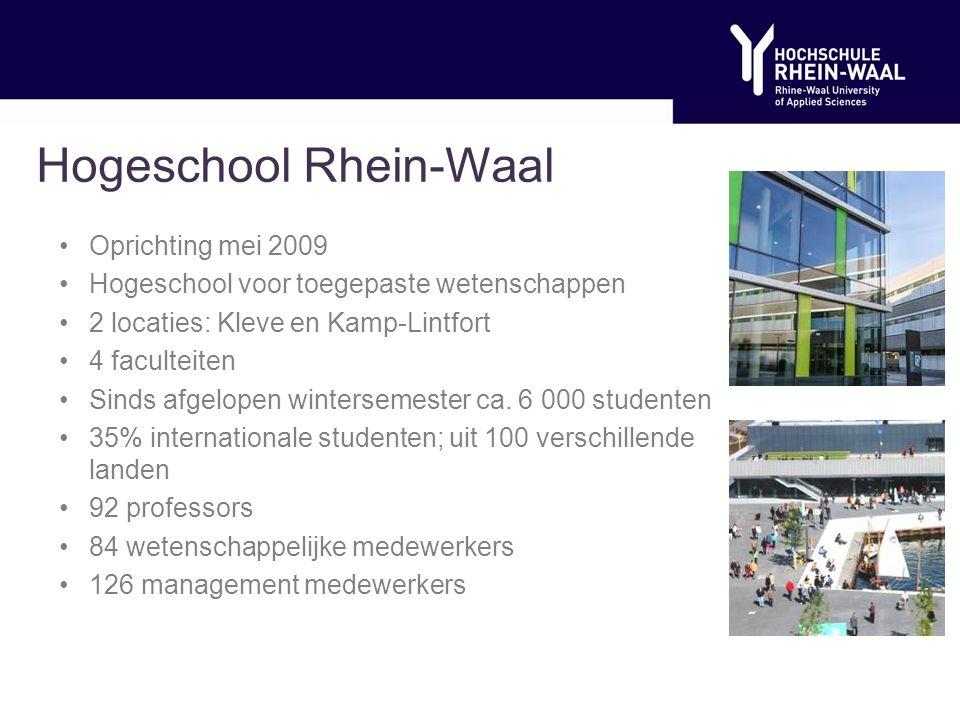 Hogeschool Rhein-Waal Oprichting mei 2009 Hogeschool voor toegepaste wetenschappen 2 locaties: Kleve en Kamp-Lintfort 4 faculteiten Sinds afgelopen wintersemester ca.
