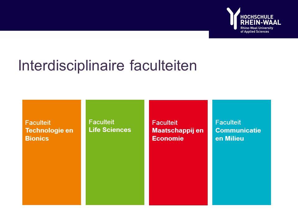 Interdisciplinaire faculteiten Faculteit Technologie en Bionics Faculteit Life Sciences Faculteit Maatschappij en Economie Faculteit Communicatie en Milieu