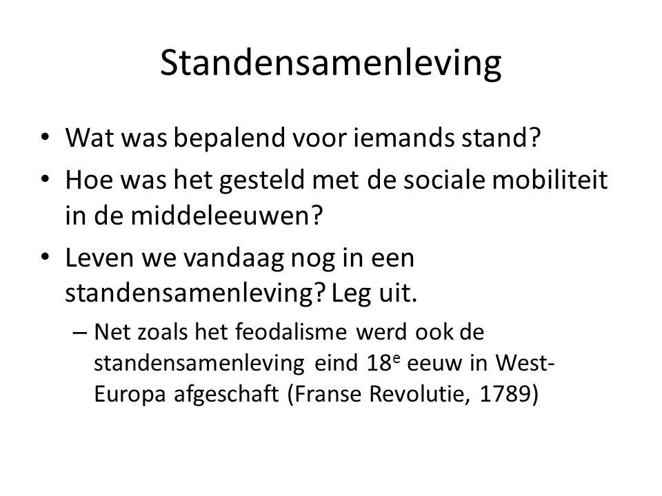 Standensamenleving Wat was bepalend voor iemands stand? Hoe was het gesteld met de sociale mobiliteit in de middeleeuwen? Leven we vandaag nog in een