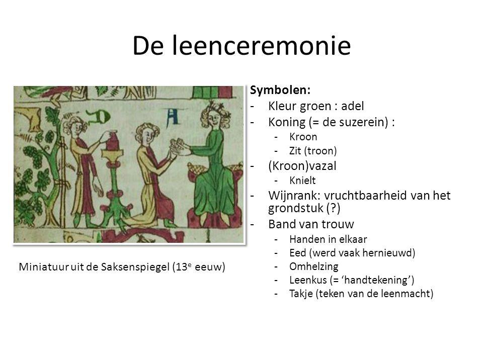 De leenceremonie Symbolen: -Kleur groen : adel -Koning (= de suzerein) : -Kroon -Zit (troon) -(Kroon)vazal -Knielt -Wijnrank: vruchtbaarheid van het g
