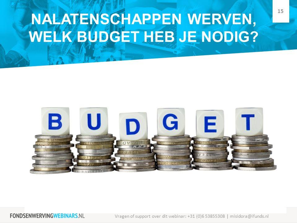 NALATENSCHAPPEN WERVEN, WELK BUDGET HEB JE NODIG? Vragen of support over dit webinar: +31 (0)6 53855308 | misidora@ifunds.nl 15