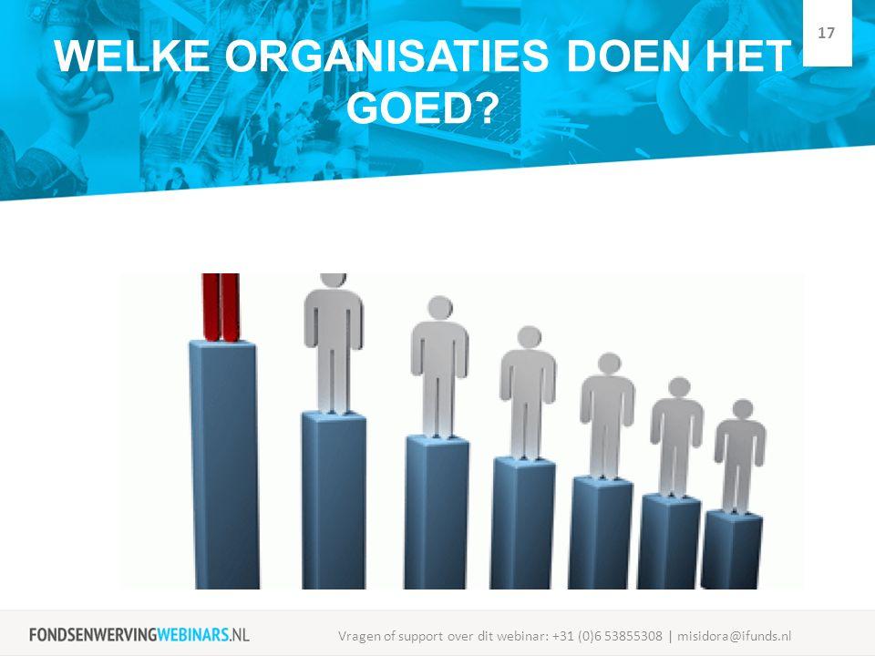 WELKE ORGANISATIES DOEN HET GOED? Vragen of support over dit webinar: +31 (0)6 53855308 | misidora@ifunds.nl 17