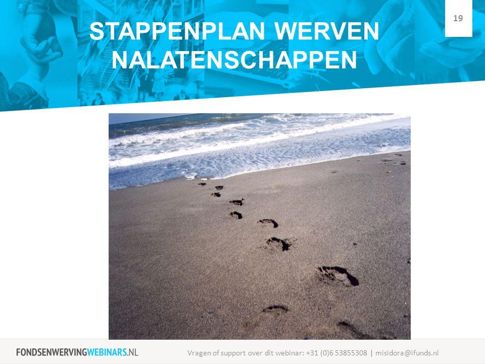 STAPPENPLAN WERVEN NALATENSCHAPPEN Vragen of support over dit webinar: +31 (0)6 53855308 | misidora@ifunds.nl 19