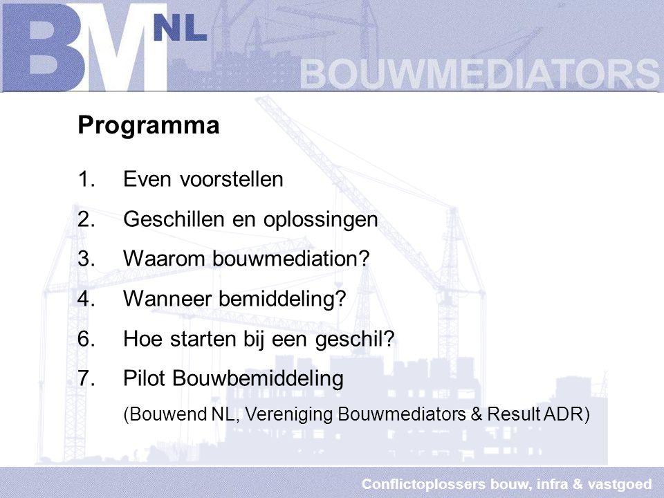 Conflictoplossers bouw, infra & vastgoed Geschil oplossen bij bouw-, infra en vastgoed gerelateerde zaken 27 mei 2014 Afdelingsvergadering Bouwend Nederland, afd.