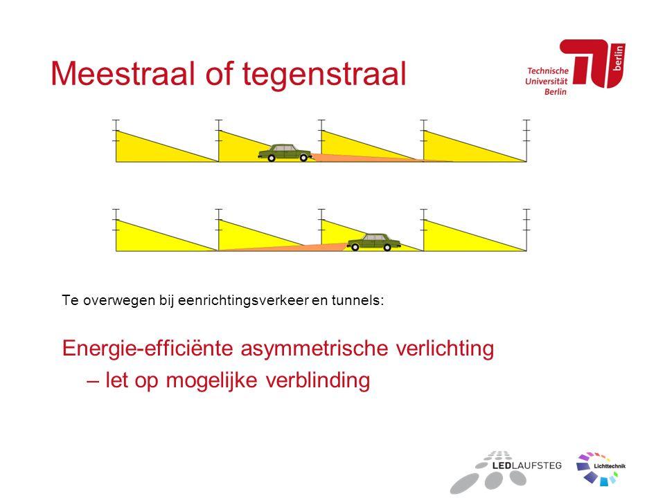 Meestraal of tegenstraal Te overwegen bij eenrichtingsverkeer en tunnels: Energie-efficiënte asymmetrische verlichting – let op mogelijke verblinding