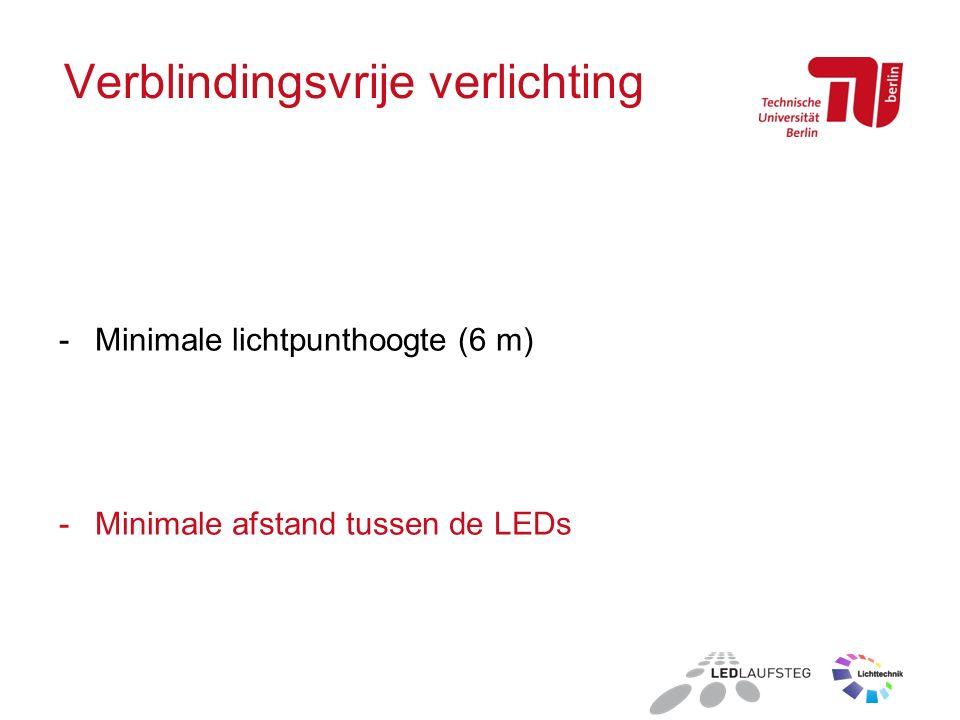 Verblindingsvrije verlichting -Minimale lichtpunthoogte (6 m) -Minimale afstand tussen de LEDs
