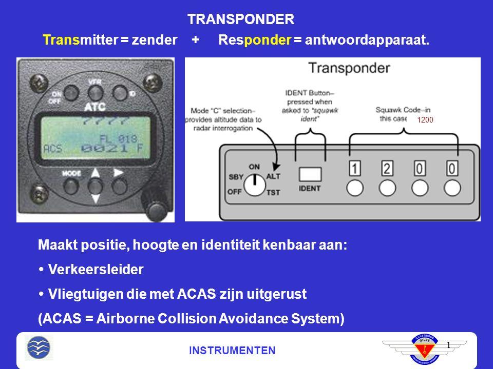 INSTRUMENTEN TRANSPONDER 1 Transmitter = zender + Responder = antwoordapparaat.