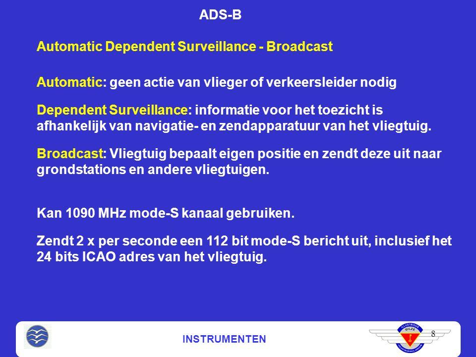 INSTRUMENTEN 8 ADS-B Automatic Dependent Surveillance - Broadcast Automatic: geen actie van vlieger of verkeersleider nodig Dependent Surveillance: informatie voor het toezicht is afhankelijk van navigatie- en zendapparatuur van het vliegtuig.