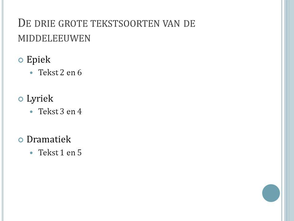 D E DRIE GROTE TEKSTSOORTEN VAN DE MIDDELEEUWEN Epiek Tekst 2 en 6 Lyriek Tekst 3 en 4 Dramatiek Tekst 1 en 5