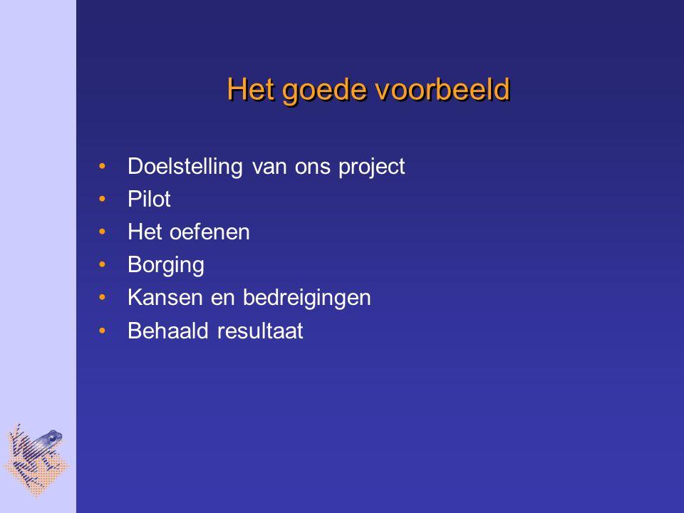 Het goede voorbeeld Doelstelling van ons project Pilot Het oefenen Borging Kansen en bedreigingen Behaald resultaat