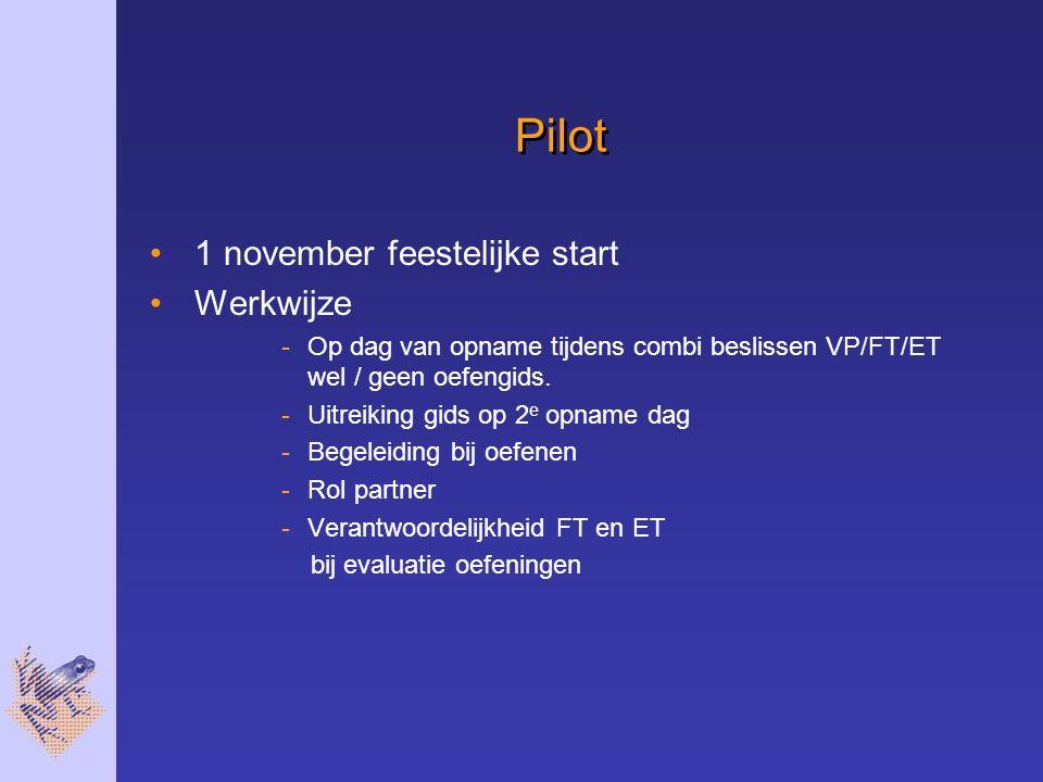 Pilot 1 november feestelijke start Werkwijze -Op dag van opname tijdens combi beslissen VP/FT/ET wel / geen oefengids.