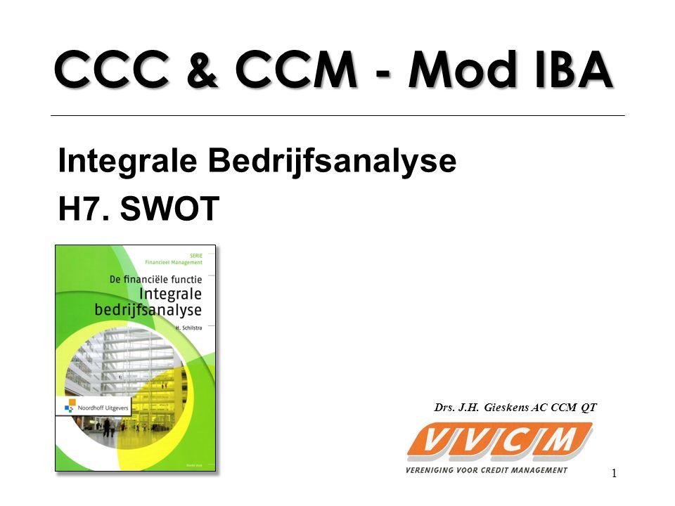 1 CCC & CCM - Mod IBA Integrale Bedrijfsanalyse H7. SWOT Drs. J.H. Gieskens AC CCM QT