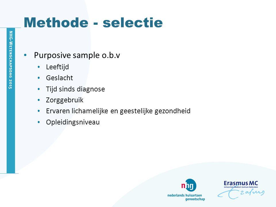 Methode - selectie Purposive sample o.b.v Leeftijd Geslacht Tijd sinds diagnose Zorggebruik Ervaren lichamelijke en geestelijke gezondheid Opleidingsniveau
