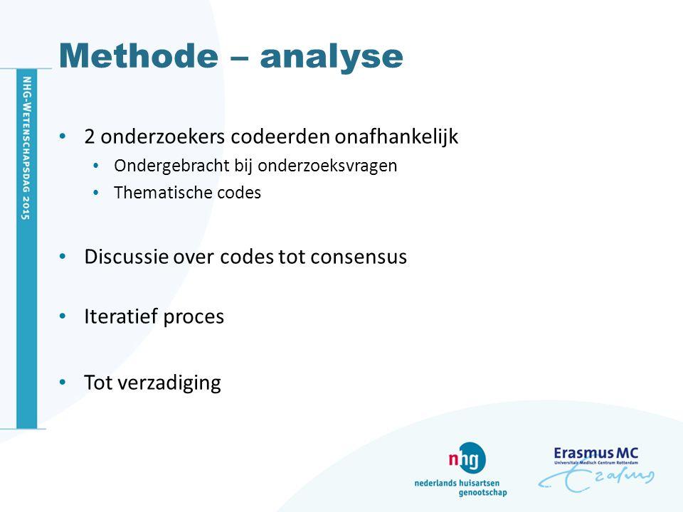 Methode – analyse 2 onderzoekers codeerden onafhankelijk Ondergebracht bij onderzoeksvragen Thematische codes Discussie over codes tot consensus Iteratief proces Tot verzadiging