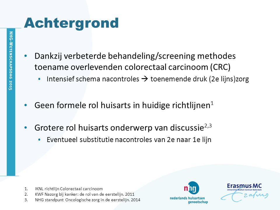 Achtergrond Dankzij verbeterde behandeling/screening methodes toename overlevenden colorectaal carcinoom (CRC) Intensief schema nacontroles  toenemende druk (2e lijns)zorg Geen formele rol huisarts in huidige richtlijnen 1 Grotere rol huisarts onderwerp van discussie 2,3 Eventueel substitutie nacontroles van 2e naar 1e lijn 1.IKNL richtlijn Colorectaal carcinoom 2.KWF Nazorg bij kanker: de rol van de eerstelijn.