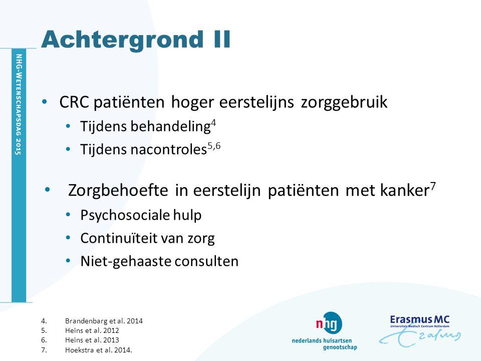 Achtergrond II CRC patiënten hoger eerstelijns zorggebruik Tijdens behandeling 4 Tijdens nacontroles 5,6 Zorgbehoefte in eerstelijn patiënten met kanker 7 Psychosociale hulp Continuïteit van zorg Niet-gehaaste consulten 4.