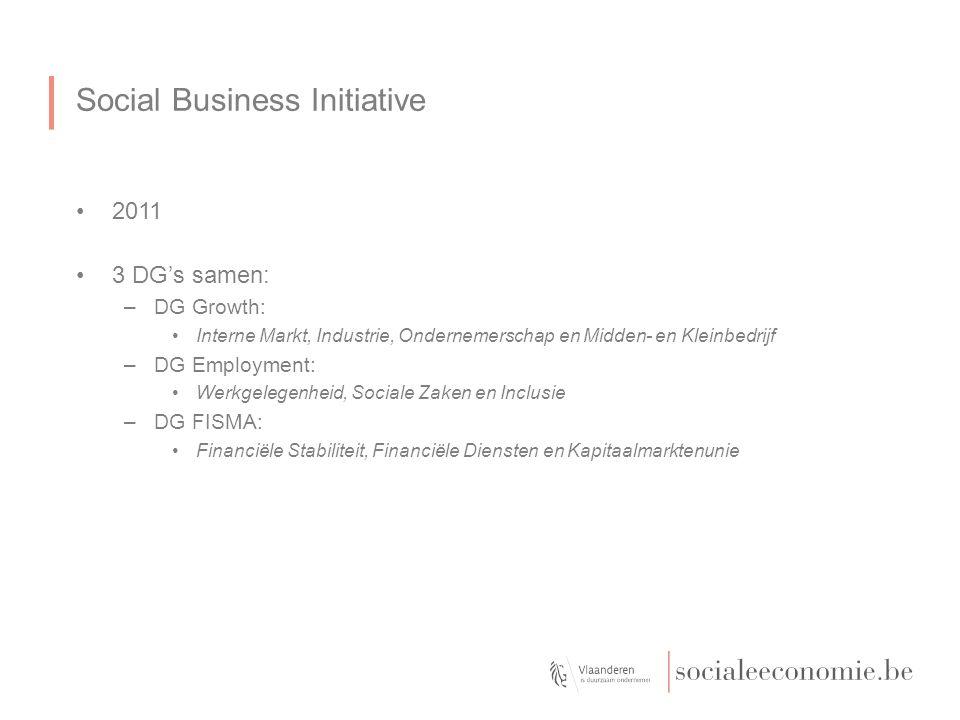 Social Business Initiative 2011 3 DG's samen: –DG Growth: Interne Markt, Industrie, Ondernemerschap en Midden- en Kleinbedrijf –DG Employment: Werkgelegenheid, Sociale Zaken en Inclusie –DG FISMA: Financiële Stabiliteit, Financiële Diensten en Kapitaalmarktenunie