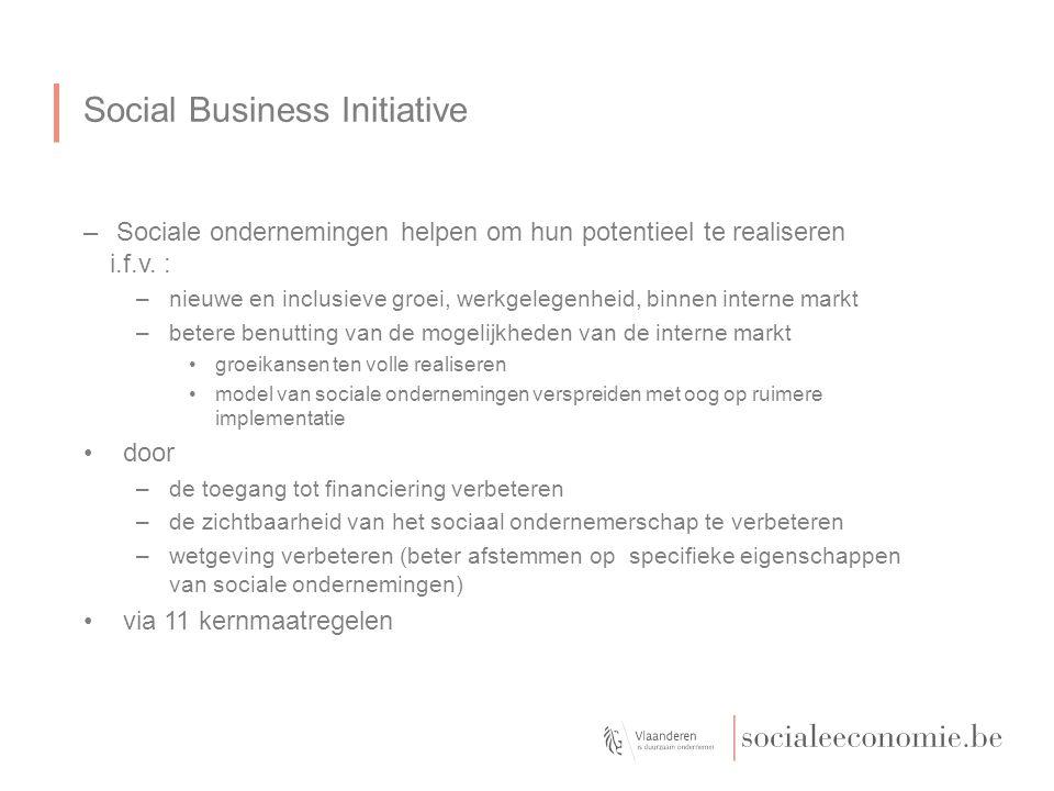 Social Business Initiative –Sociale ondernemingen helpen om hun potentieel te realiseren i.f.v.
