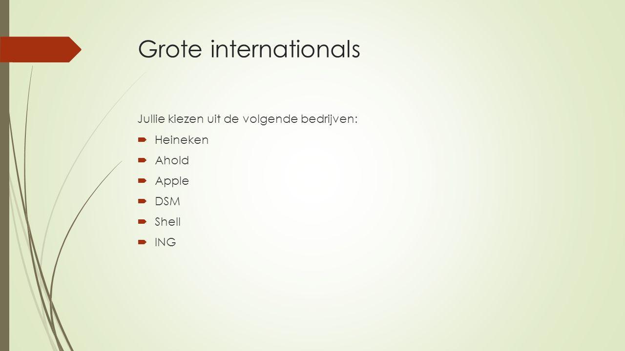 Grote internationals Jullie kiezen uit de volgende bedrijven:  Heineken  Ahold  Apple  DSM  Shell  ING