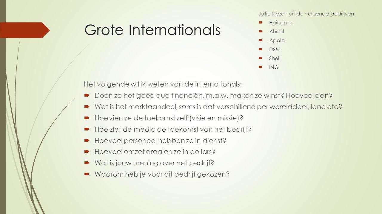 Grote Internationals Het volgende wil ik weten van de internationals:  Doen ze het goed qua financiën, m.a.w. maken ze winst? Hoeveel dan?  Wat is h