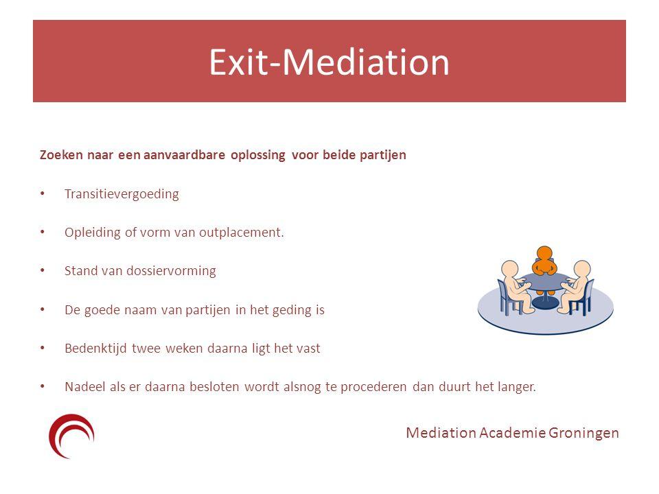 Exit-Mediation Zoeken naar een aanvaardbare oplossing voor beide partijen Transitievergoeding Opleiding of vorm van outplacement. Stand van dossiervor
