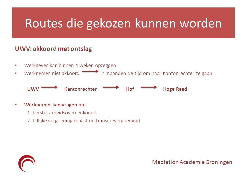 Routes die gekozen kunnen worden UWV: akkoord met ontslag Werkgever kan binnen 4 weken opzeggen Werknemer niet akkoord 2 maanden de tijd om naar Kanto