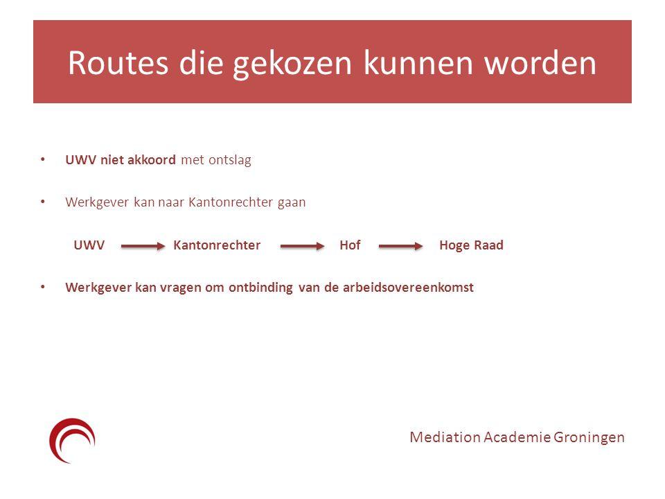 Routes die gekozen kunnen worden UWV niet akkoord met ontslag Werkgever kan naar Kantonrechter gaan UWVKantonrechterHofHoge Raad Werkgever kan vragen om ontbinding van de arbeidsovereenkomst Mediation Academie Groningen
