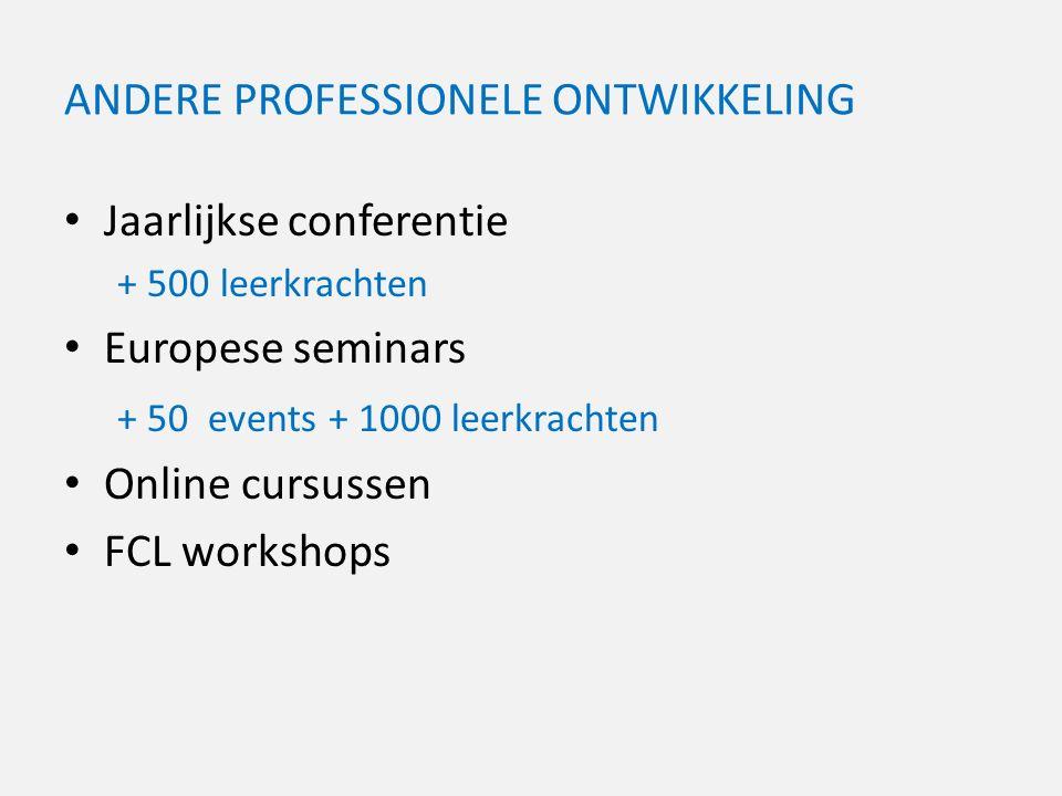 ANDERE PROFESSIONELE ONTWIKKELING Jaarlijkse conferentie + 500 leerkrachten Europese seminars + 50 events + 1000 leerkrachten Online cursussen FCL workshops