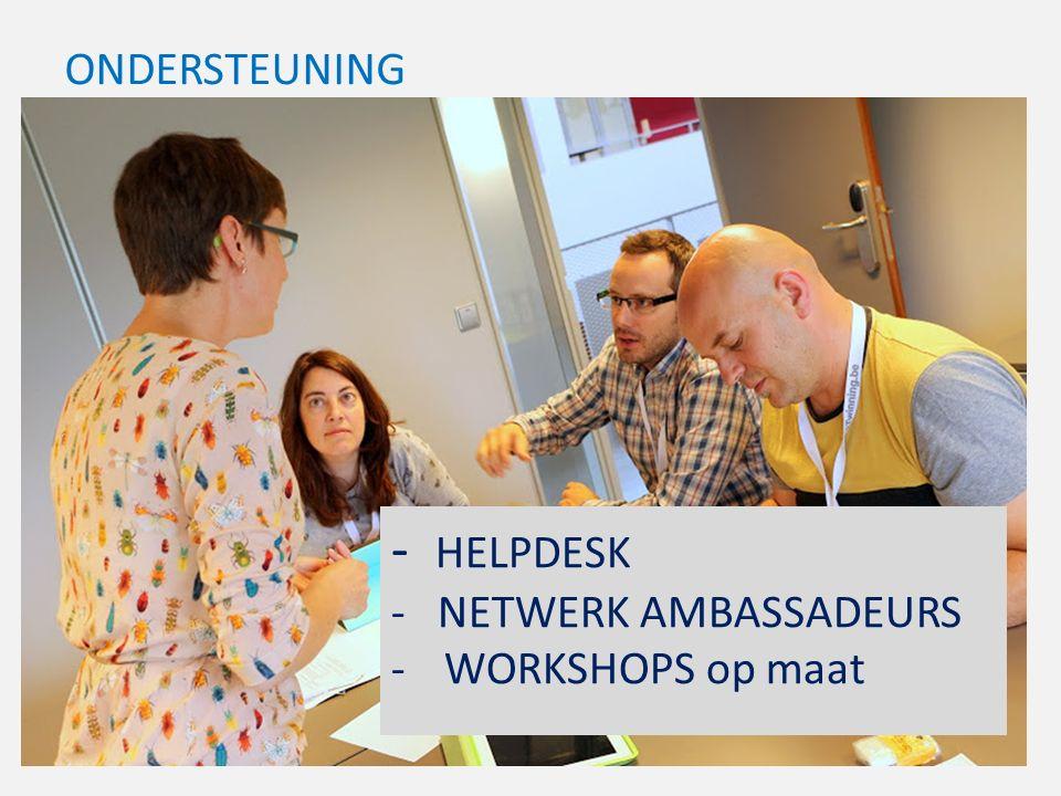 ONDERSTEUNING - HELPDESK - NETWERK AMBASSADEURS -WORKSHOPS op maat