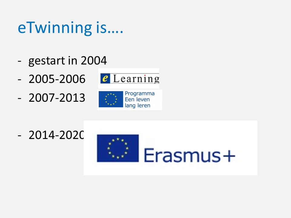 eTwinning is…. -gestart in 2004 -2005-2006 -2007-2013 -2014-2020