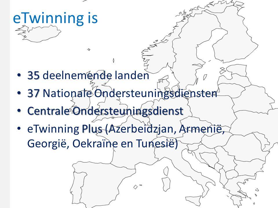 eTwinning is 35 35 deelnemende landen 37 37 Nationale Ondersteuningsdiensten Centrale Ondersteuningsdienst Centrale Ondersteuningsdienst Plus eTwinning Plus (Azerbeidzjan, Armenië, Georgië, Oekraïne en Tunesië)