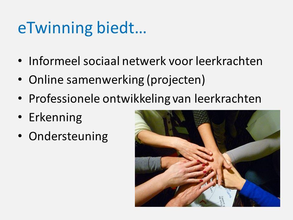 eTwinning biedt… Informeel sociaal netwerk voor leerkrachten Online samenwerking (projecten) Professionele ontwikkeling van leerkrachten Erkenning Ondersteuning