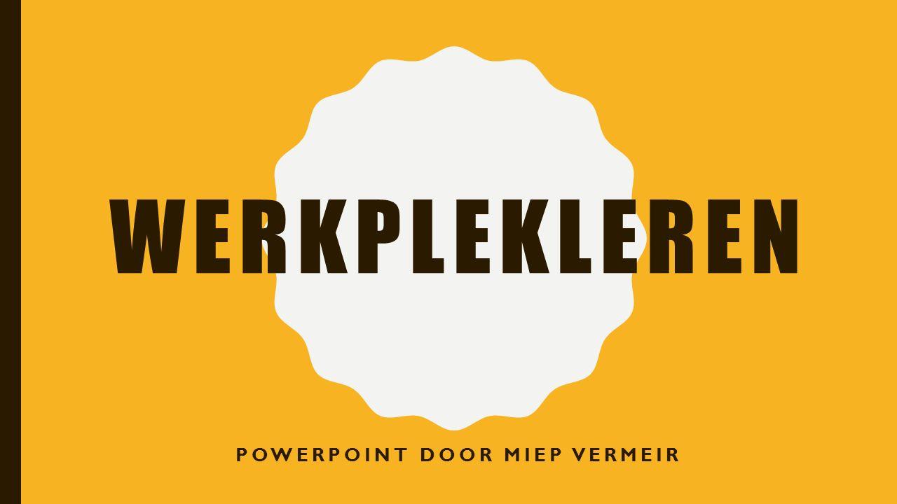 WERKPLEKLEREN POWERPOINT DOOR MIEP VERMEIR