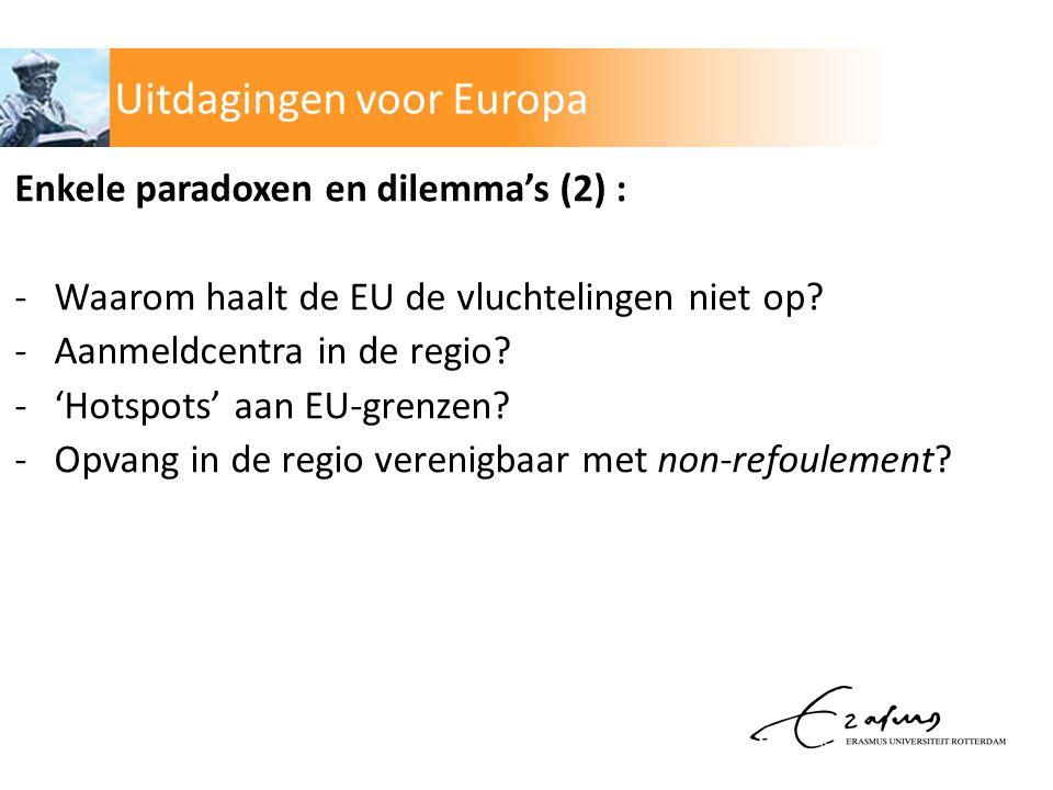 Enkele paradoxen en dilemma's (2) : -Waarom haalt de EU de vluchtelingen niet op.