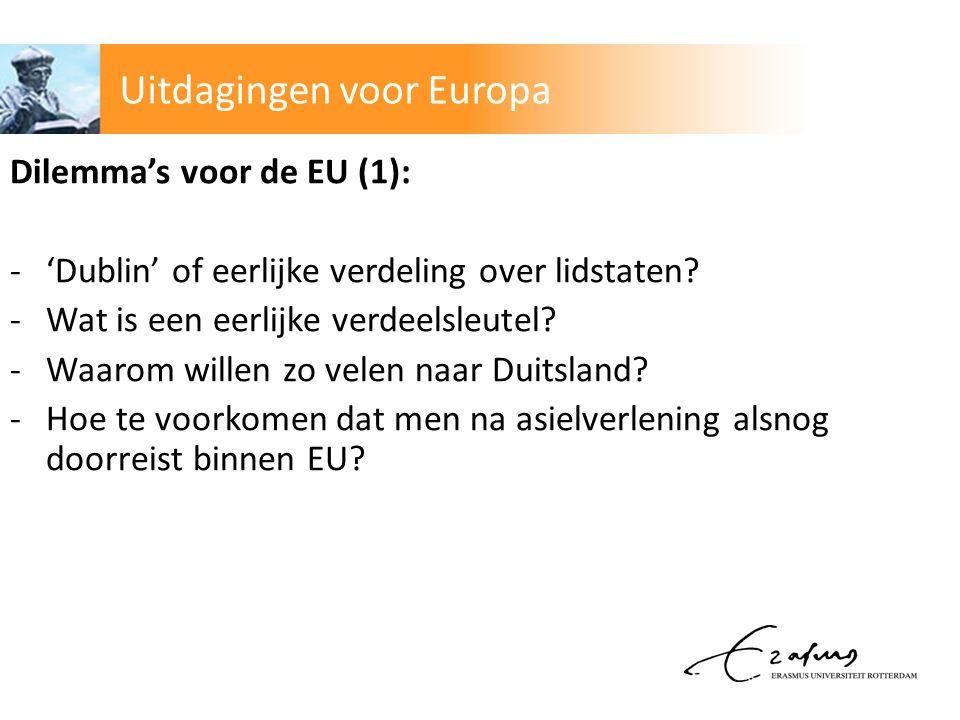 Dilemma's voor de EU (1): -'Dublin' of eerlijke verdeling over lidstaten.