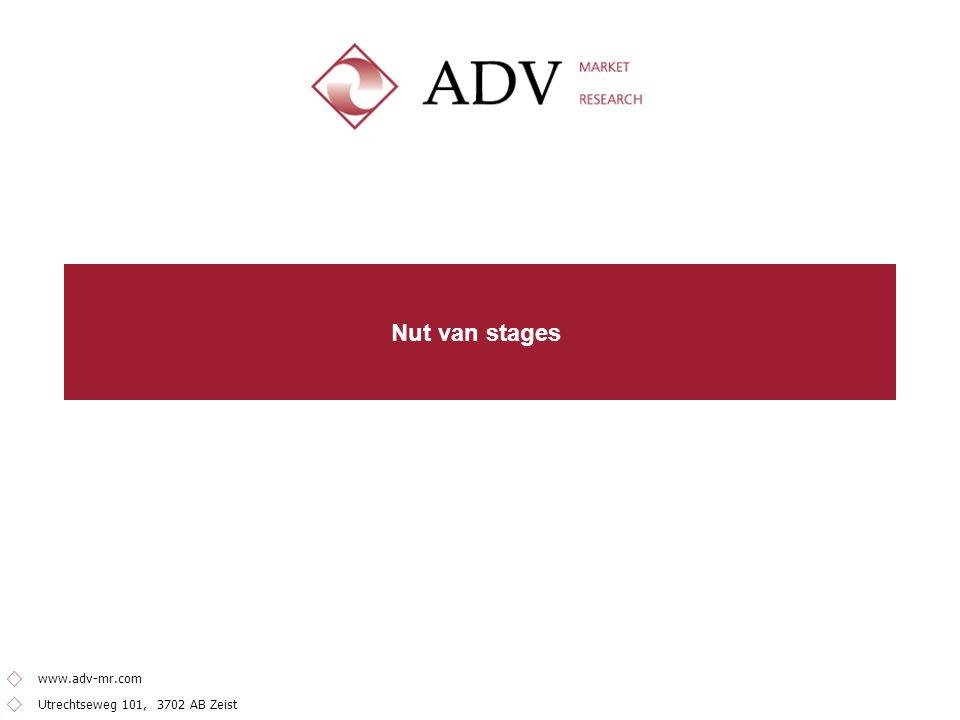 Utrechtseweg 101, 3702 AB Zeist www.adv-mr.com Nut van stages