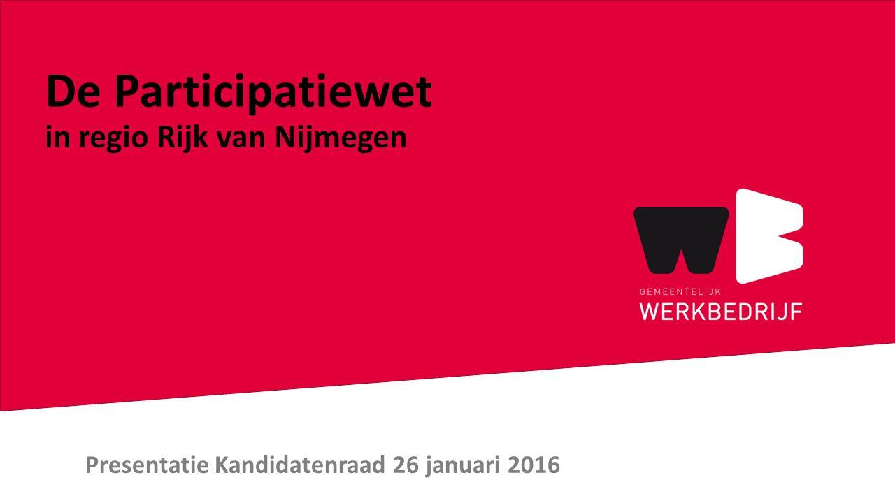 Presentatie Kandidatenraad 26 januari 2016 De Participatiewet in regio Rijk van Nijmegen