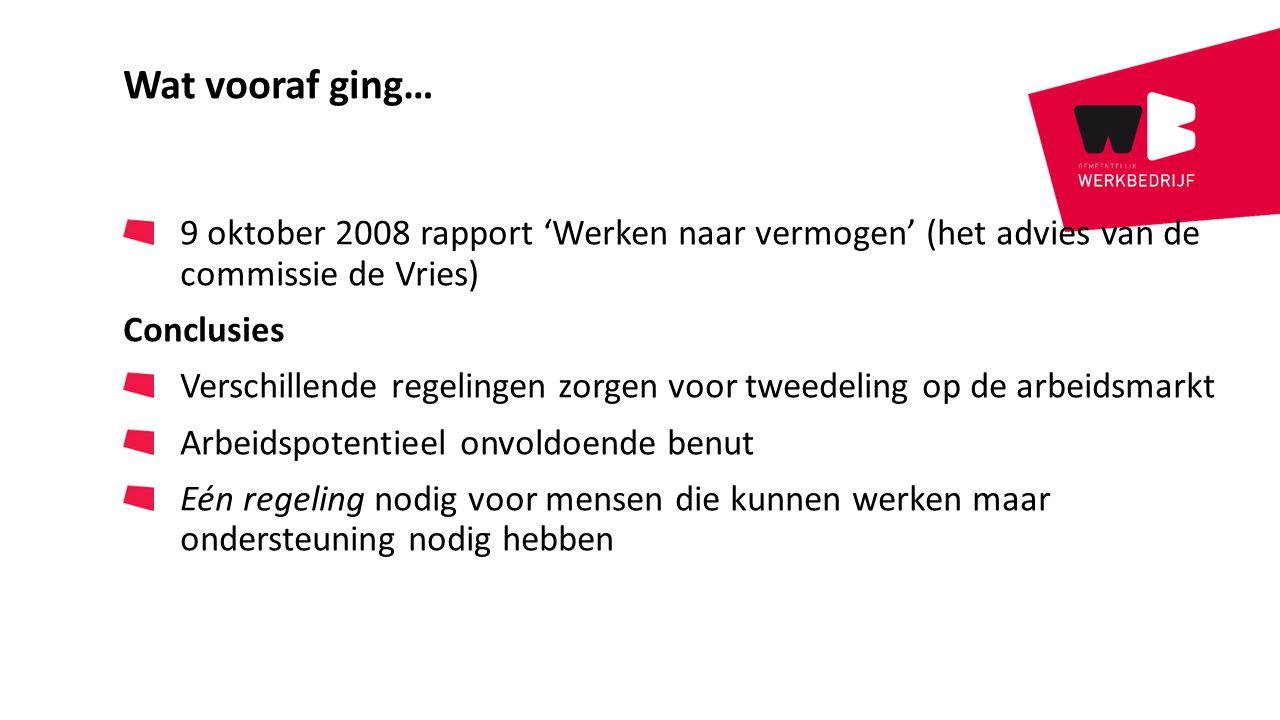 Wat vooraf ging… 9 oktober 2008 rapport 'Werken naar vermogen' (het advies van de commissie de Vries) Conclusies Verschillende regelingen zorgen voor