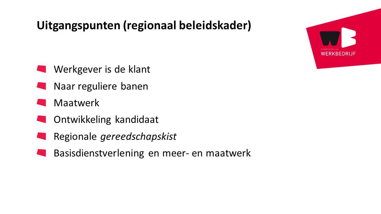 Uitgangspunten (regionaal beleidskader) Werkgever is de klant Naar reguliere banen Maatwerk Ontwikkeling kandidaat Regionale gereedschapskist Basisdie