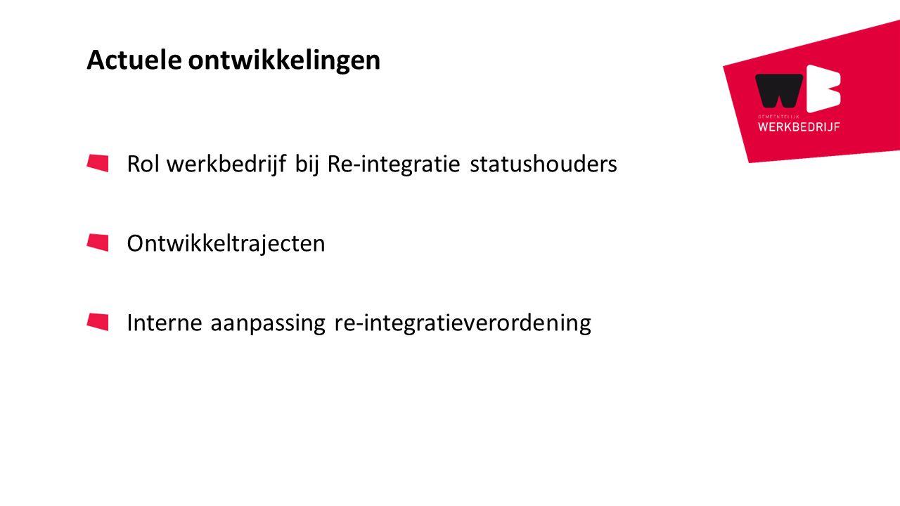 Actuele ontwikkelingen Rol werkbedrijf bij Re-integratie statushouders Ontwikkeltrajecten Interne aanpassing re-integratieverordening