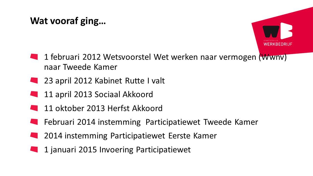 Wat vooraf ging… 1 februari 2012 Wetsvoorstel Wet werken naar vermogen (Wwnv) naar Tweede Kamer 23 april 2012 Kabinet Rutte I valt 11 april 2013 Socia