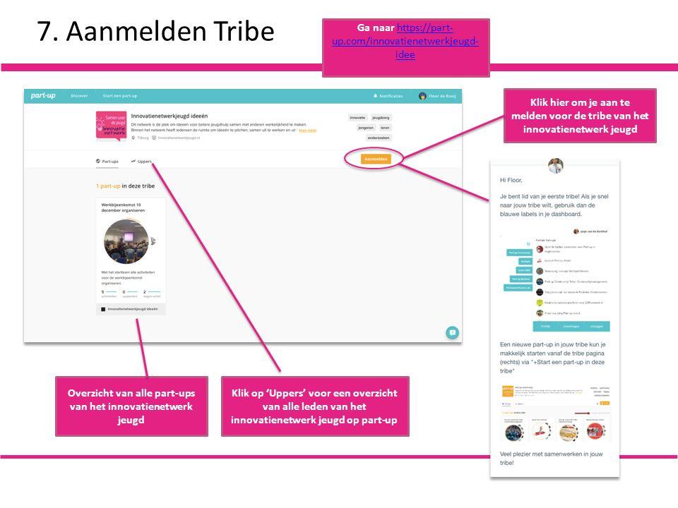 7. Aanmelden Tribe Klik hier om je aan te melden voor de tribe van het innovatienetwerk jeugd Overzicht van alle part-ups van het innovatienetwerk jeu