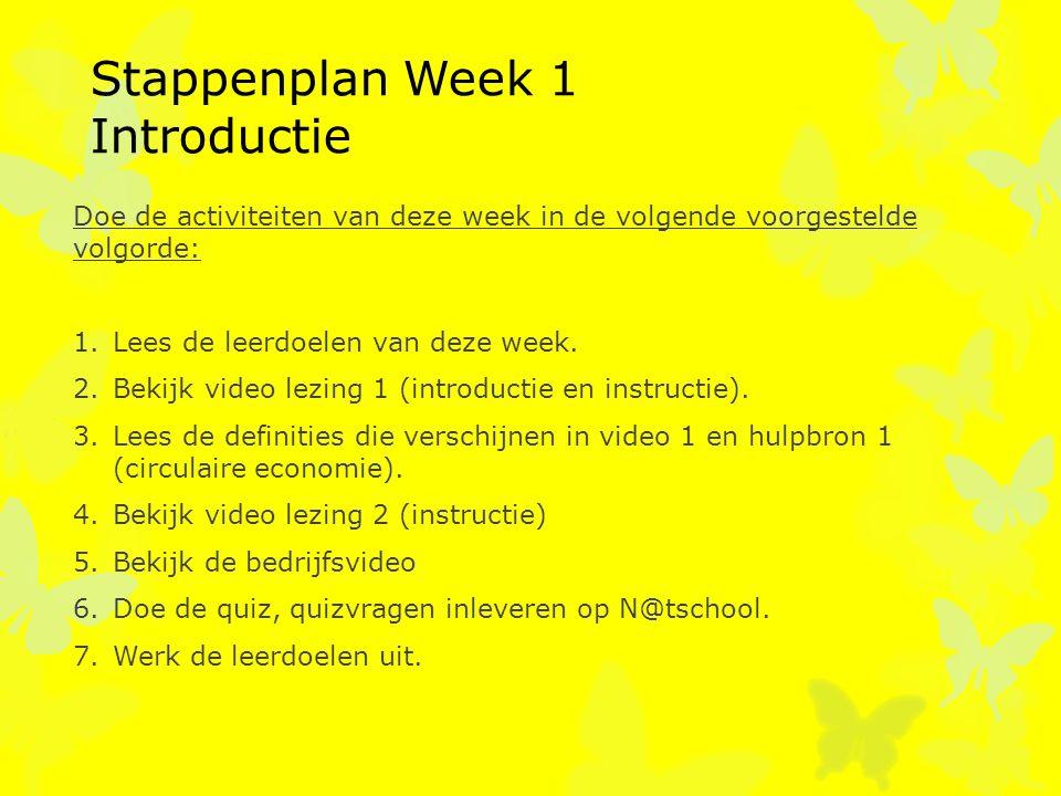 Stappenplan Week 1 Introductie Doe de activiteiten van deze week in de volgende voorgestelde volgorde: 1.Lees de leerdoelen van deze week. 2.Bekijk vi